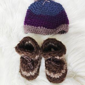 Padraig slippers and handmade hat